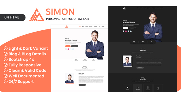 Image of Saimon - Portfolio Personal Creative Freelancer Portfolio HTML Portfolio landing page