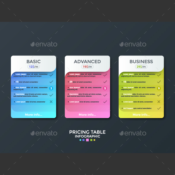 Pricing Table Infographic Template - Infographics