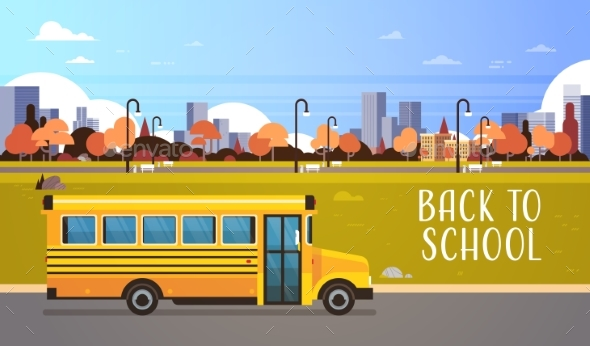 Yellow Bus Back To School Pupils Transport Concept - Miscellaneous Vectors