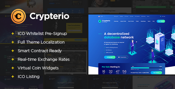 Crypterio - ICO and Cryptocurrency WordPress Theme - Technology WordPress