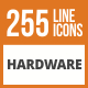 256 Hardware Line Green & Black Icons - GraphicRiver Item for Sale