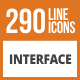 290 Interface Line Green & Black Icons
