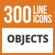 300 Objects Line Green & Black Icons