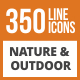 350 Nature & Outdoor Line Green & Black Icons - GraphicRiver Item for Sale