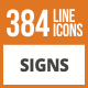 384 Sign Line Green & Black Icons - GraphicRiver Item for Sale