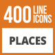 410 Places Line Green & Black Icons - GraphicRiver Item for Sale