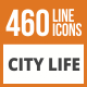 460 City Life Line Green & Black Icons - GraphicRiver Item for Sale