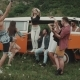 Summer Time Hip, Friends Have Fun in the Middle of Landscape with a Retro Bus. - VideoHive Item for Sale