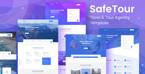 SafeTour - Travel & Tour Agency Booking Template - Travel Retail