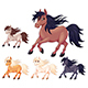 Set of Different Cartoon Horses - GraphicRiver Item for Sale