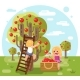 Autumn Happy Children Harvest Apples Crop - GraphicRiver Item for Sale