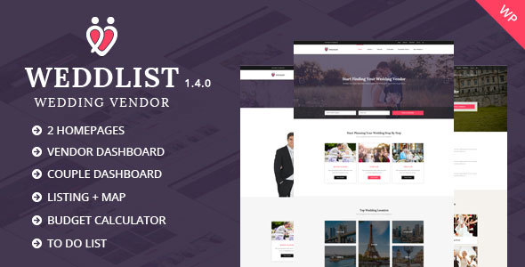 Weddlist - Wedding Vendor Directory WordPress Theme - Directory & Listings Corporate