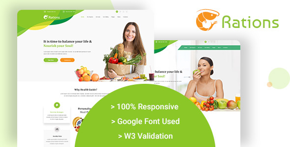 Image of Ration - Diet & Nutrition Website Templates
