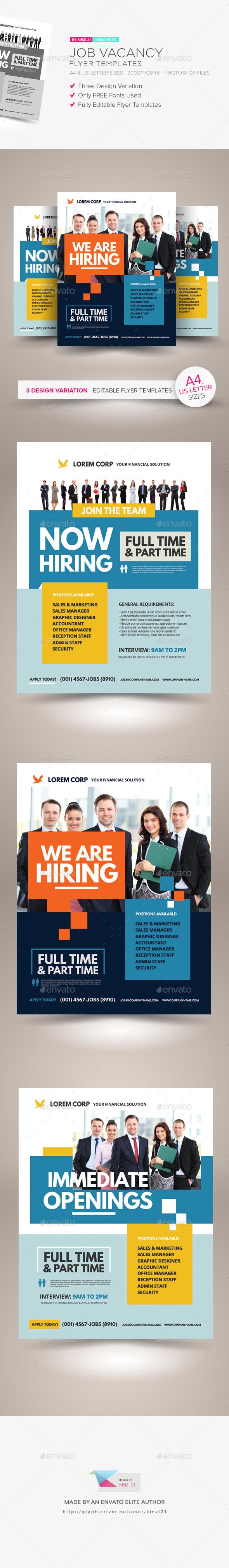 Job Vacancy Flyer Templates By Kinzishots Graphicriver