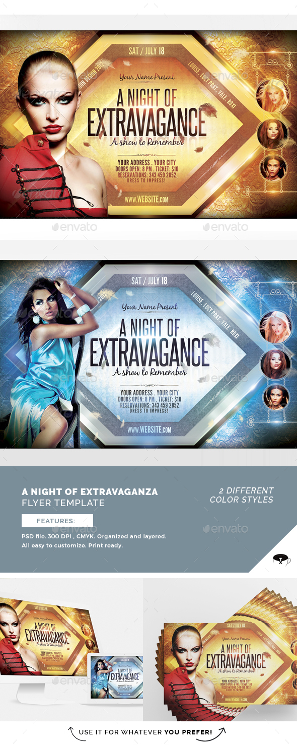 A Night Of Extravagance Flyer Template - Flyers Print Templates