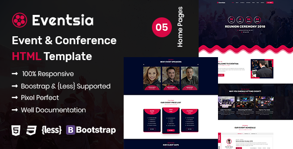 Eventsia - Event & Conference HTML Template - Events Entertainment