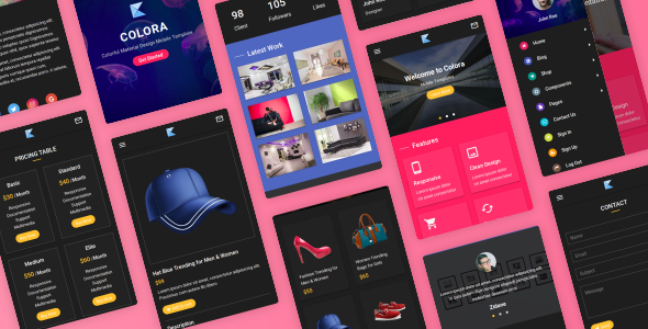 Colora - Colorful Material Design Mobile Template - Mobile Site Templates