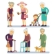 Old Women Cartoon Character Set