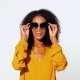 Happy African American Woman with Afro Hair in Yellow Top - VideoHive Item for Sale