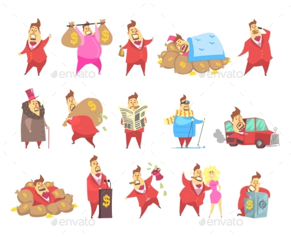 Fat Rich Millionaire Men in Red Suit - People Characters