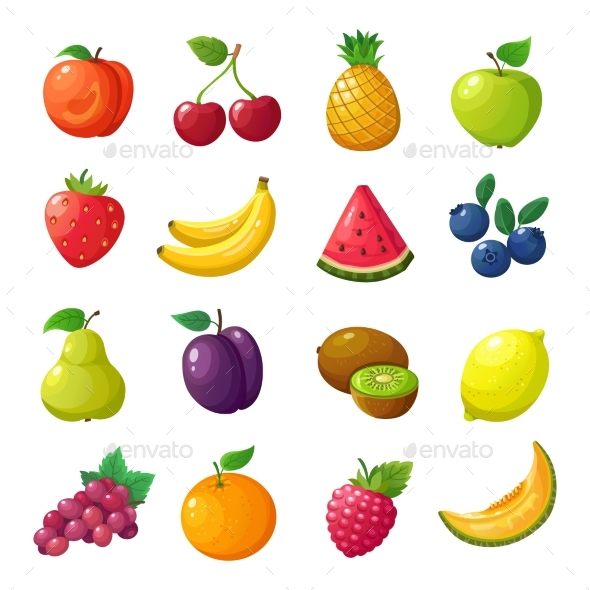 Cartoon Fruits and Berries - Food Objects