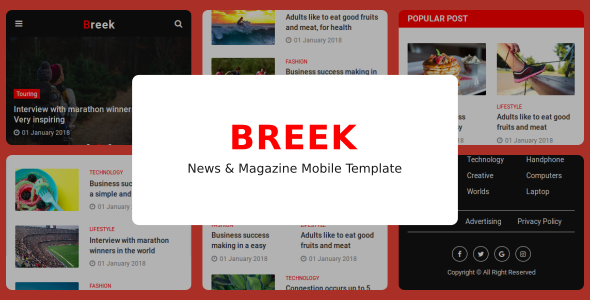 Breek - News & Magazine Mobile Template