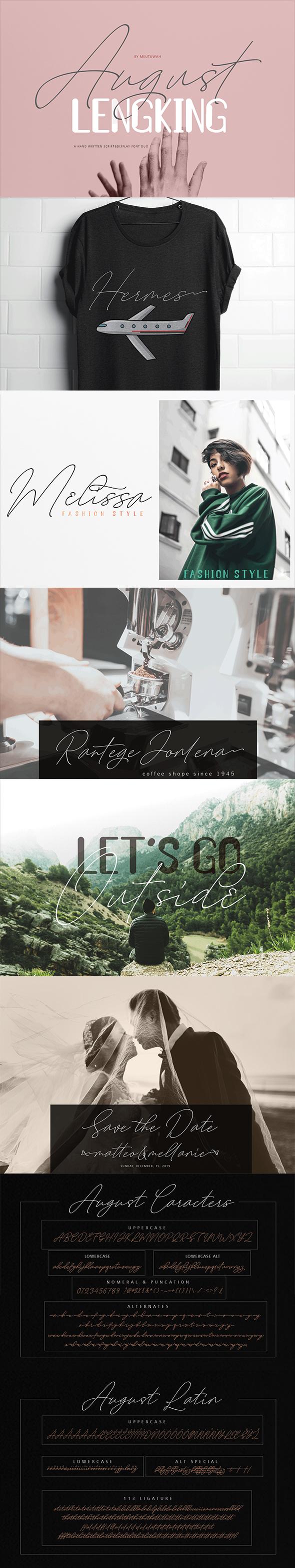August & LENGKING Font Duo - Script Fonts