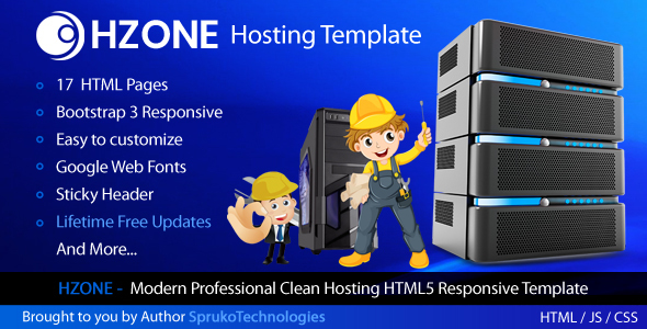 Hzone -  Modern Clean,Unique Hosting HTML5 Template by SprukoTechnologies