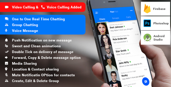 Android Chatting App with Groups and Voice messages -  Firebase | Complete App| YooHoo - CodeCanyon Item for Sale