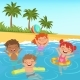 Background Illustrations of Happy Kids in Pool