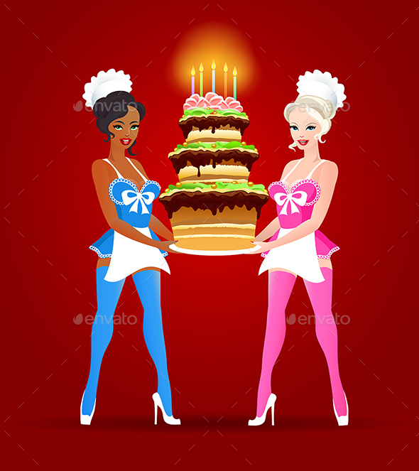 Two Girls with Birthday Cake - Birthdays Seasons/Holidays