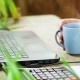Professional Freelancer Drinks Coffee, Using Laptop and Working at Table on Rooftop Terrace - VideoHive Item for Sale