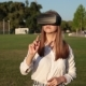 Young Woman in Virtual Reality Glasses in the Park. - VideoHive Item for Sale