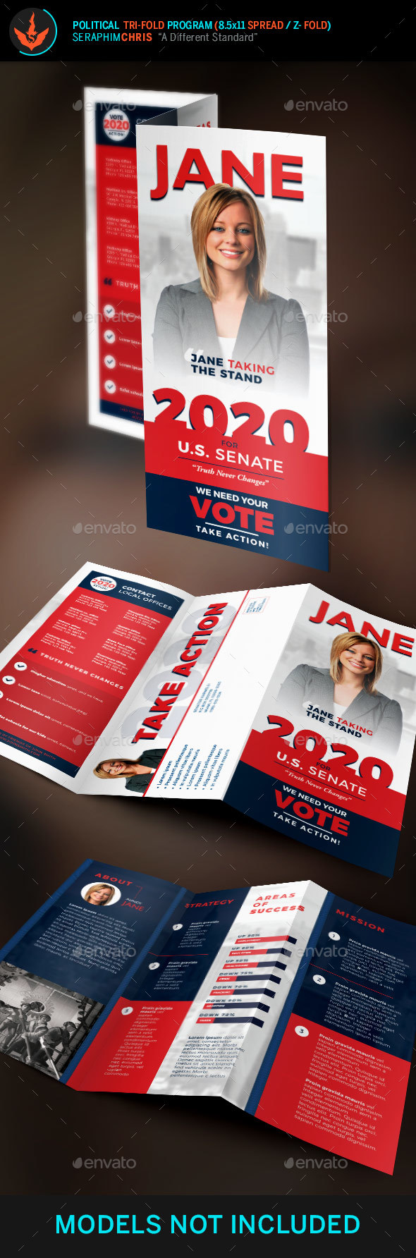 Jane Political Tri-Fold Brochure Template 1 - Corporate Brochures