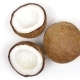 One Whole Coconut and Two Halves with Yummy Pulp Rotating on White Background. Loopable Seamless - VideoHive Item for Sale