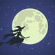 Halloween Witch Flies on Broomstick