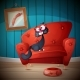 Who is Sitting on the Couch Cartoon Illustration - GraphicRiver Item for Sale