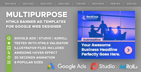RectCorp - Multipurpose HTML5 Banner Ad Templates (GWD) - CodeCanyon Item for Sale