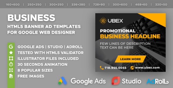 UBEX - Multipurpose Business HTML5 Banners (GWD) - CodeCanyon Item for Sale