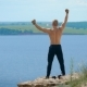 Anonymous Shirtless Man Training on Coast - VideoHive Item for Sale