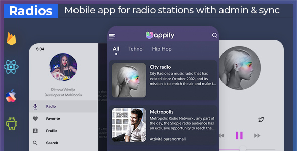 UniExpo - radio stations app + backend (React native + Expo )            Nulled