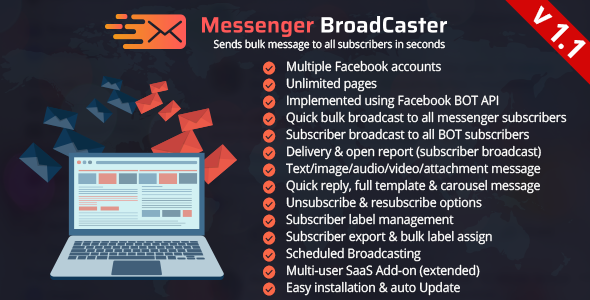 Messenger Broadcaster - A Bot Inboxer Add-on : Send Bulk Message to Facebook Messenger Subscribers            Nulled