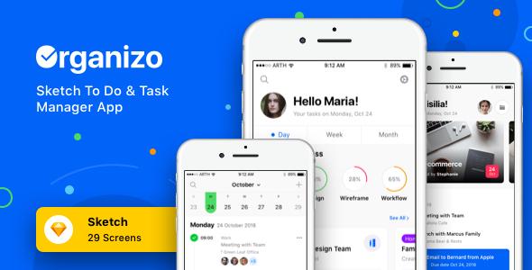 Organizo - Sketch To Do & Task Manager App - Sketch Templates