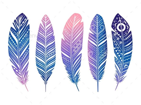Color Feathers Vector Set - Decorative Symbols Decorative