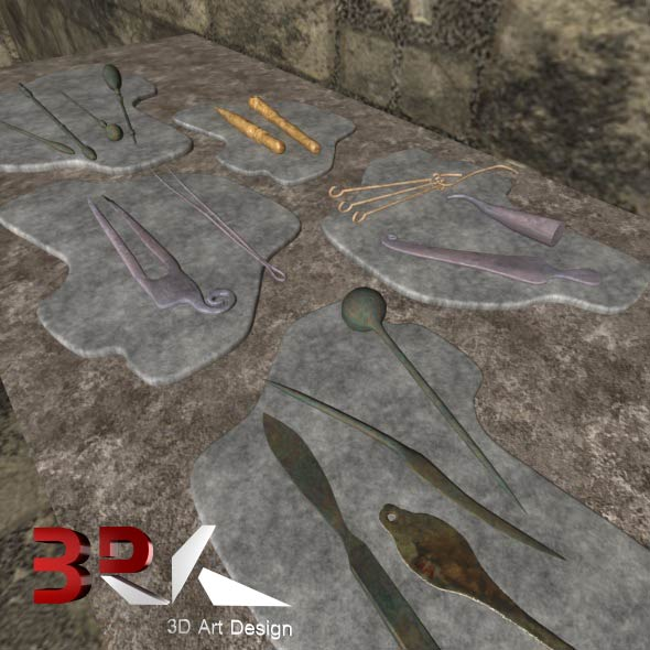Ancient Medicine Tool Set - 3DOcean Item for Sale
