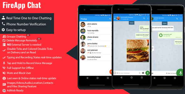 FireApp Chat - Android Chatting App with Groups Inspired by WhatsApp            Nulled