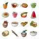 Vegetarian Dish Cartoon Icons in Set Collection