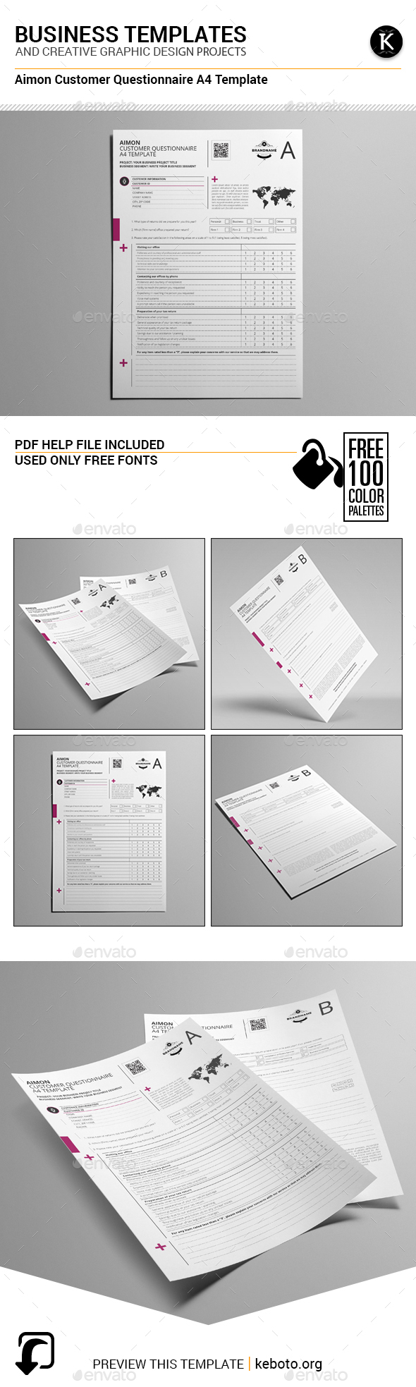 Aimon Customer Questionnaire A4 Template - Miscellaneous Print Templates