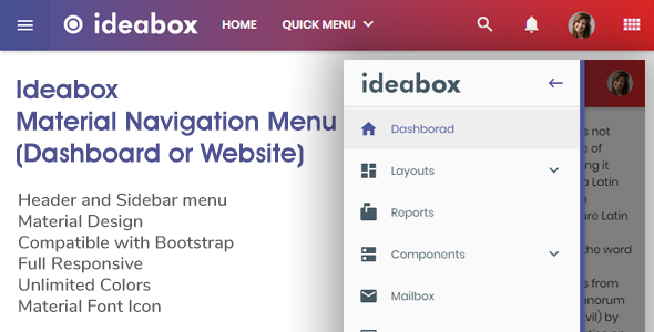Ideabox - Material Navigation Menu - Dashboard or Website