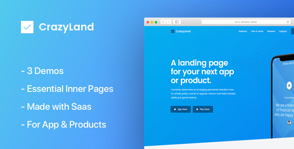 CrazyLand | App Landing Page by themedevelopernet